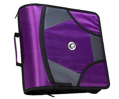 Case-it King Sized Zip Tab 4-inch D-ring Zipper Binder With 5-tab File Folder, Purple, D-186-pur 4
