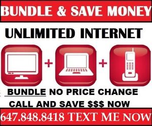 UNLIMITED INTERNET CABLE TV AND PHONE $84 BUNDLE