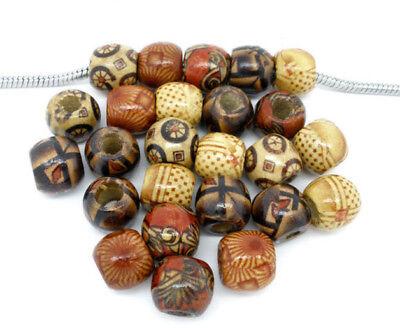 10 Dread Holz Perlen-MIX 11x12mm Großlochperlen Set  Beads Bunt Gemustert