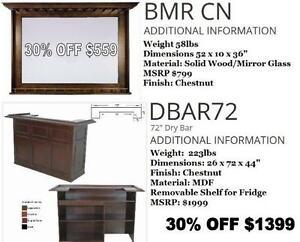 "NEW -- 30% OFF Until July 23, 2016-- NEW Floor Model 72"" Dry Bar  Regular $1,999 NOW $1,399.30+hst"