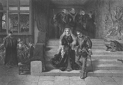 Scotland  Mary Queen Of Scots Death Execution   Antique 1875 Art Print Engraving