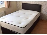 new king size divan bed in faux leather includes headboard base and mattress viewing welcome