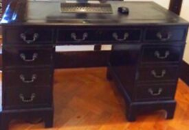 Black desk with leather top