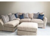 Lovely Cream Corner Sofa with foot stool and cushions 5 months old