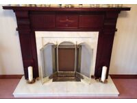 Marble and mahogany fireplace