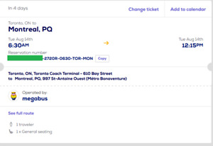 5 megabus tickets toronto to montreal - $40