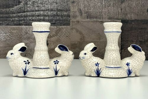 Dedham Pottery ~ Pair of Blue & White Rabbit Candlestick Holders ~ Easter Decor