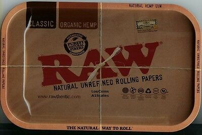 "RAW Papers Brand Vintage Style METAL Cigarette Rolling Tray 7""x11"" NEW FREE SHIP"