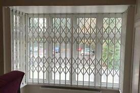 Collapsible grilles, sliding grill, concertina grille, domestic window and door security shutters