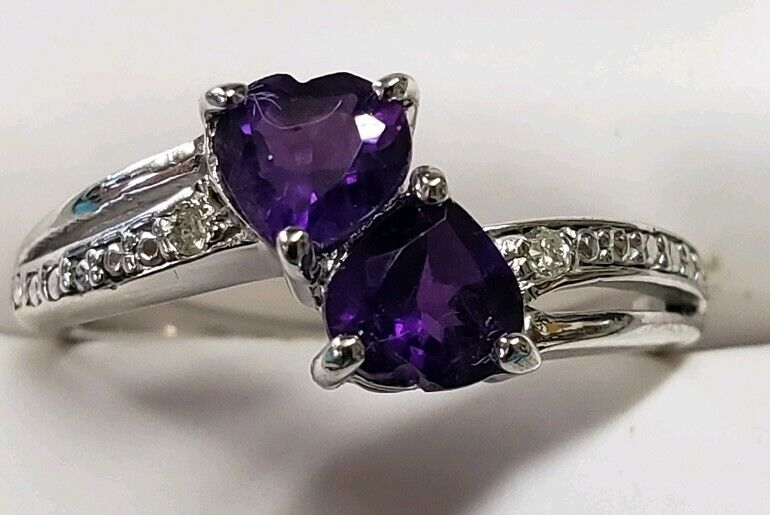 .925 Sterling Silver Diamond Accented Amethyst Two Heart Ring (Size 6)