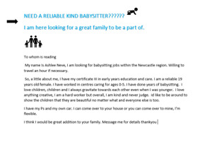 looking for a babysitter in my area