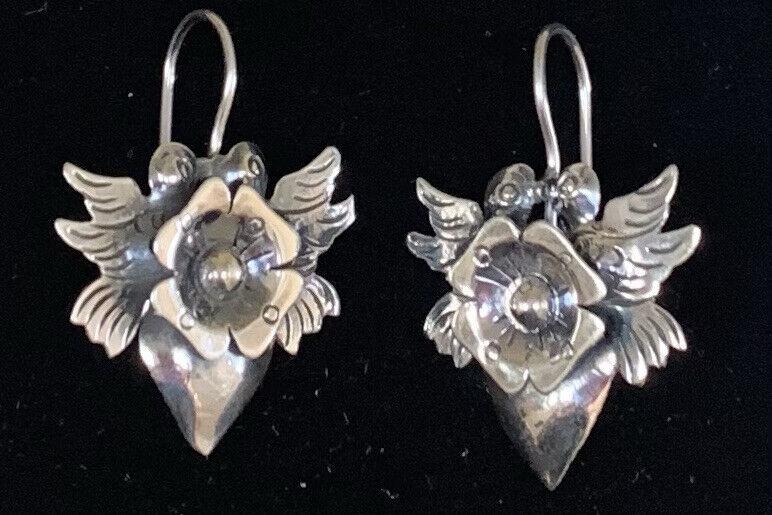 Mexican Sterling Silver Kissing Dove Bird Flower Heart Frida Earrings -