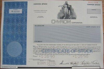 SPECIMEN Stock Certificate - ''The Chyron Corporation''