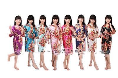 2018 Hot Sale Silk Kid Robe Kimono Floral Bridesmaid Dress Children Bathrobe ()