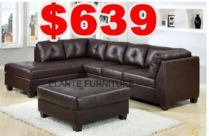 Dale 3pcs Bonded leather sectional set