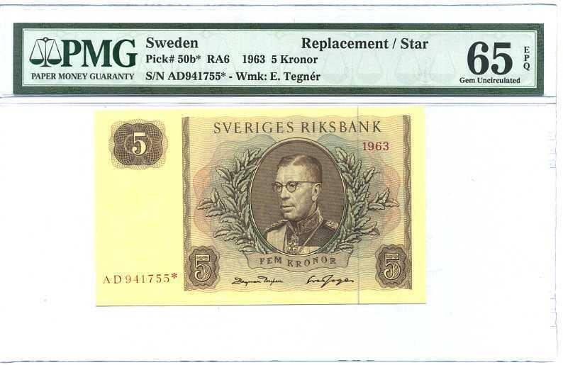 Sweden 5 Kroner Nd 1963 P 50 B* Replacement Star Gem UNC PMG 65 EPQ