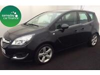 ONLY £161.47 PER MONTH BLACK 2014 VAUXHALL MERIVA 1.4 TECH LINE PETROL MANUAL