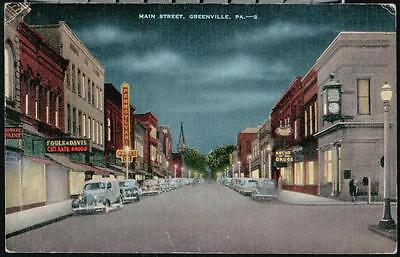 Greenville Pa Main Street National Bank Foulk   Davis Vtg Night View Postcard Pc
