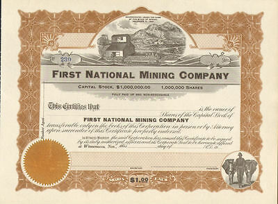 First National Mining > Winnemucca Nevada stock certificate mine share