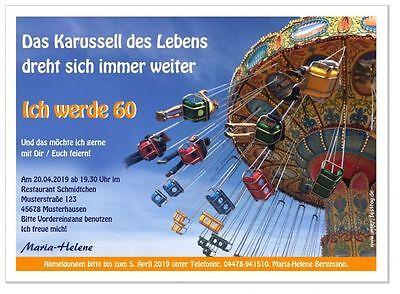 Einladungskarte zum Geburtstag originell witzig Karussell rund 50 60 70 80 Jahre (80. Geburtstag Einladungen)