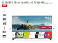 LG 4K 43 inch Smart T.V - Like new