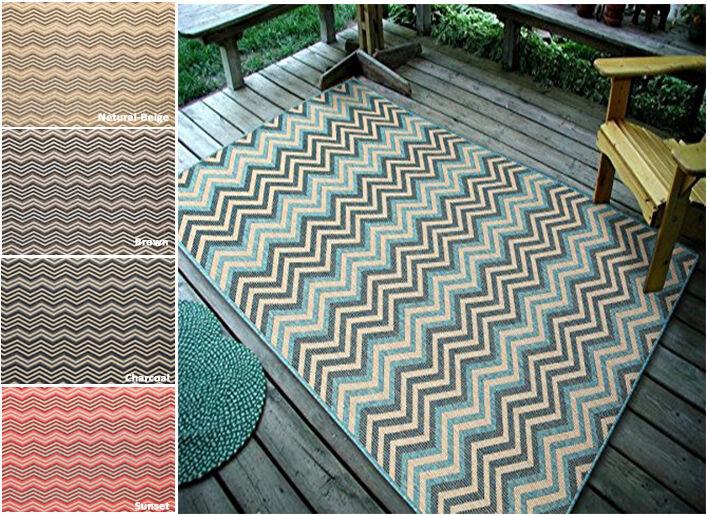 """4'5"""" x 7' Geometric Zigzag, Indoor & Outdoor Area Rug - 1112"""