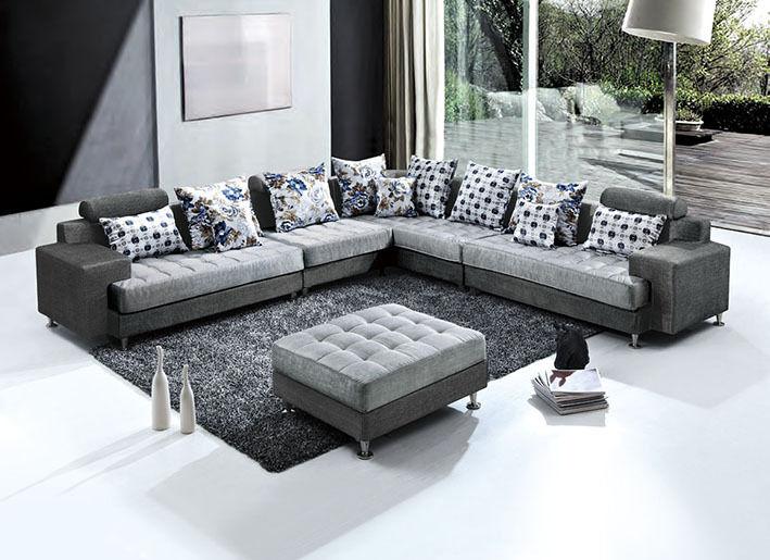 Divano angolare 325x250 pouf in microfibra moderno grigio soggiorno divani|456
