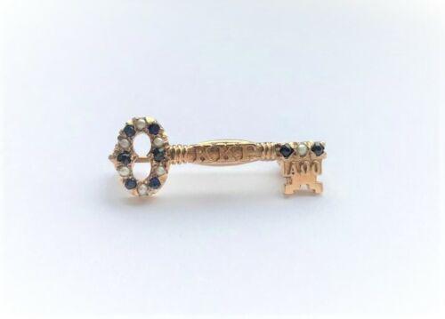 Vintage Kappa Kappa Gamma Sorority Pin Brooch 10K Gold Sapphire Pearls Key