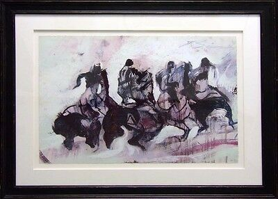 "Earl Biss""Riders Sketch in Purple&White"" Plate Signed numbered with custom frame for sale  Aurora"
