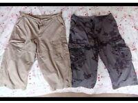 2 Pairs Men's Cargo Shorts 36 waist