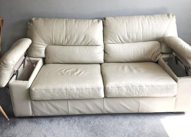 M S Cream Leather Sofa With Storage Arms In Redhill Surrey Gumtree