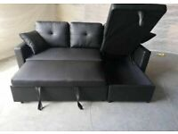 😍😍BRAND NEW GREY FABRIC CORNER SOFA BED WITH OTTOMAN STORAGE SOFABED SETTEE L SHAPE🔥 💕