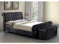 Chesterfield sleigh bed crushed velvet HUGE SAVINGS