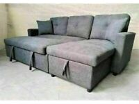 🚚FAST DELIVERY🚚 BRAND NEW FABRIC CORNER SOFA BED WITH OTTOMAN STORAGE GREY COLOR SOFABED L SHAPE💕