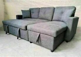 ⭐💕 BRAND NEW FABRIC CORNER SOFA BED WITH OTTOMAN STORAGE GREY COLOR SOFABED L SHAPE💕
