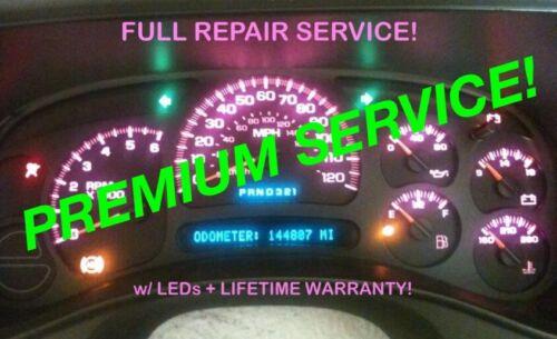 REPAIR SERVICE 2004 Sierra Yukon Dash Instrument Gauge Cluster + LED 04 05