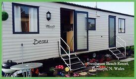 HOLIDAY DISCOUNTS! BEAU: Presthaven Beach Resort, Prestatyn N.Wales: 3-bed caravan for holidays