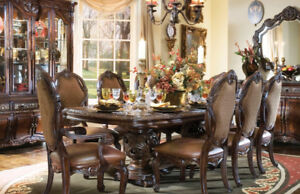 Dark brown real wood Dining Table with 6 Chairs & Hutch