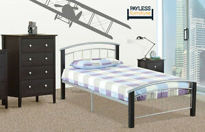 NEW Twin Bed ★ Can deliver ★ Metal platform with wood posts