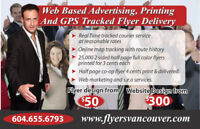 Website Work, Printing, GPS Tracked Flyer Delivery