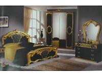 Brand New Italian Style Mirror Double Wardrobe Black&Gold