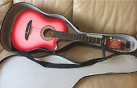 Pink Guitar, hard case and tuner