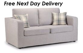 Brand New Maxi Metal Action Silver Fabric Sofa Bed with 2 Tartan Cushions