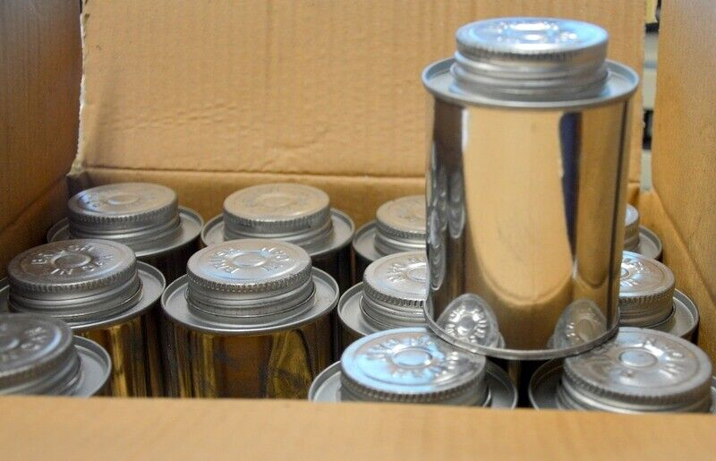 """12- Tin Bottle  with Brush In Lid.  3"""" Tall x 2 1/2"""" Dia.  New Old Stock, #BLT-M"""