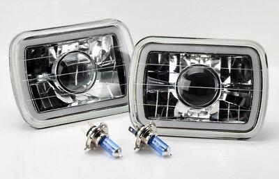 "7x6"" H4 Blue CCFL Halo Clear Projector Glass Headlight Conversion w/ Bulbs C/G"