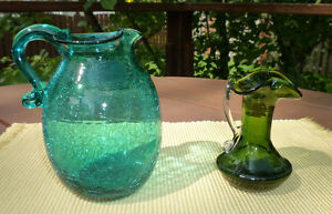 Antique Crackle Glass Pitchers (2)