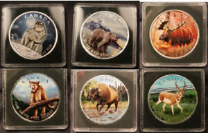 Complete set of 6 FULL COLORIZED Wildlife 1oz Silver Maple Leafs
