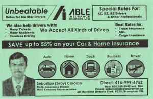Special Ins. rates for high/low risk drivers,professionals car
