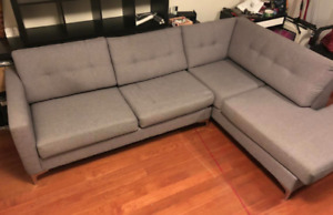 Grey right-facing sectional with sofa bed couch - $1000 (TORONT