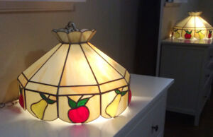 Mid-Century Stained Glass Hanging Lamp